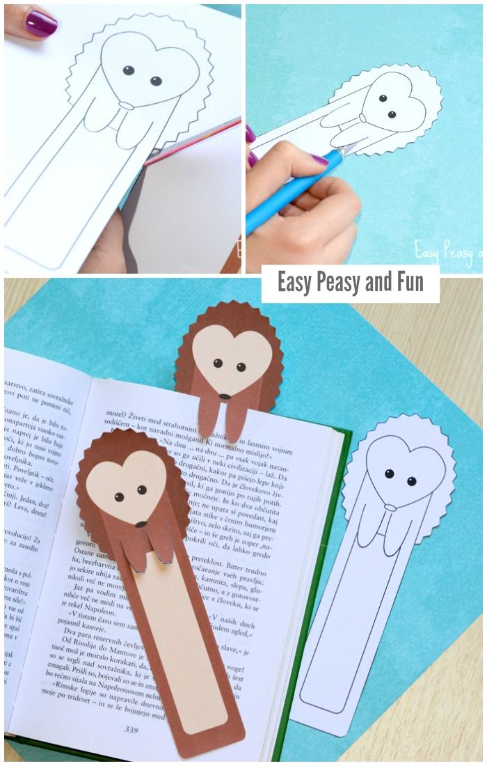 Printable hedgehog bookmarks easy peasy hedgehogs and for Simple bookmarks