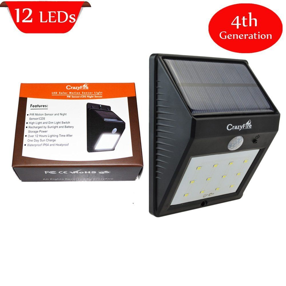 Crazyfire 4th Generation Solar Powered 12 Led Pir Motion Sensor Light Super Bright Motion Sensor Lights Outdoor Solar Lights Led Outdoor Wall Lights