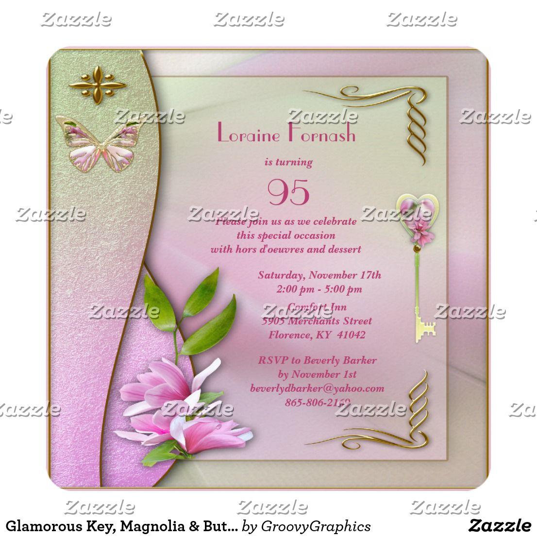 Glamorous Key Magnolia Butterfly 90th Birthday Invitation