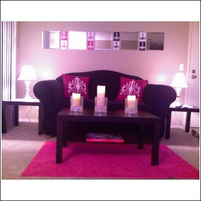 Pink Glam Room Decor | glam on a budget apartment living room ...