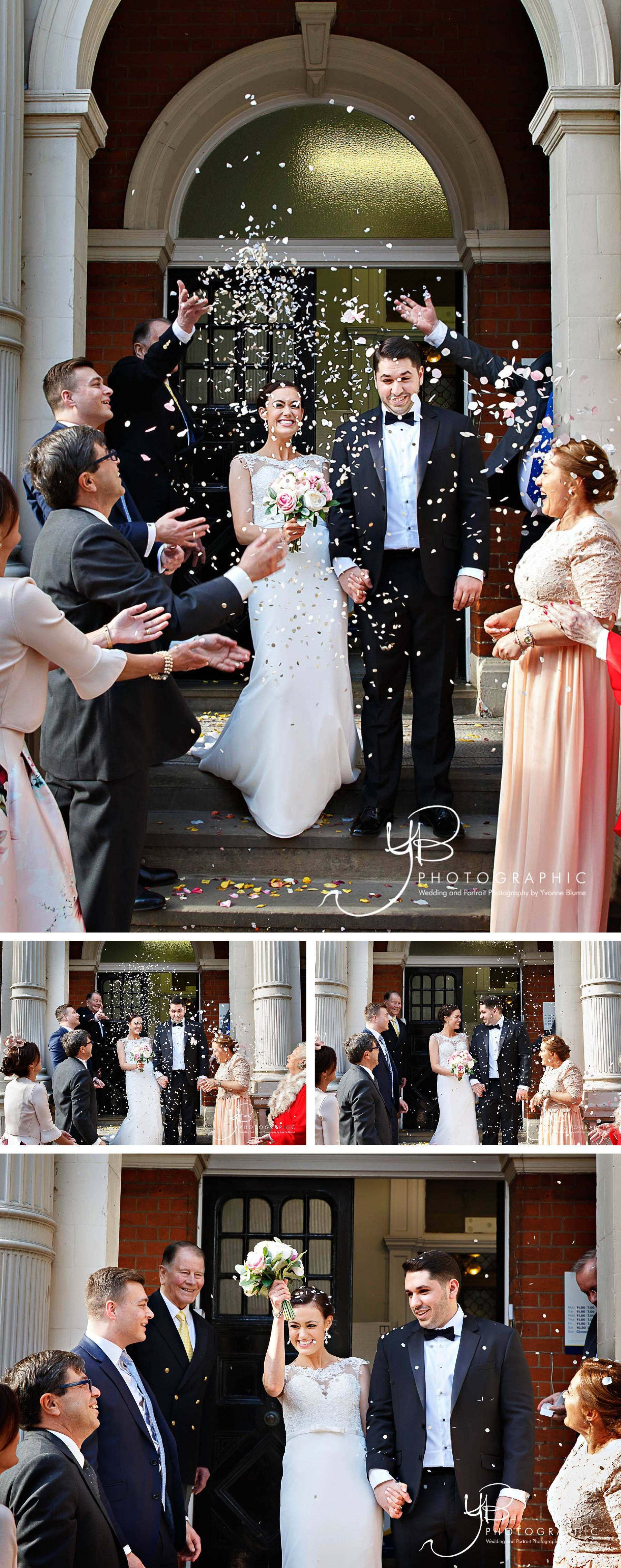 Fabulous confetti throw on the steps of mayfair library by london