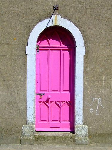 Old door with a fuchsia face lift!
