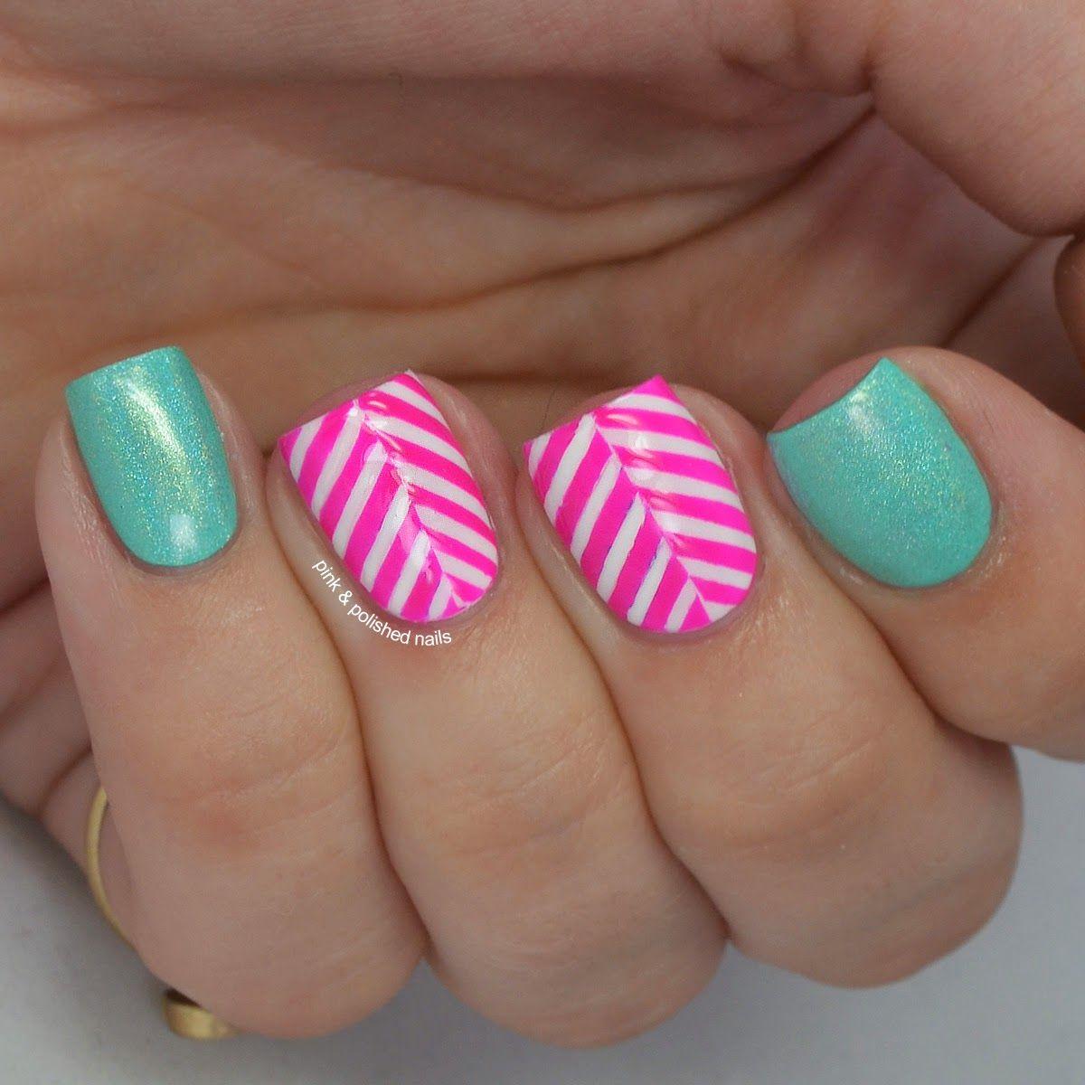 Pink u polished pink herringbone nail designs pinterest