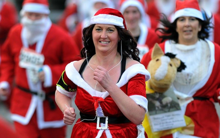 My FB friend Val makes it to the front page of the Telegraph! - 2013 Liverpool Santa dash. Awesome!