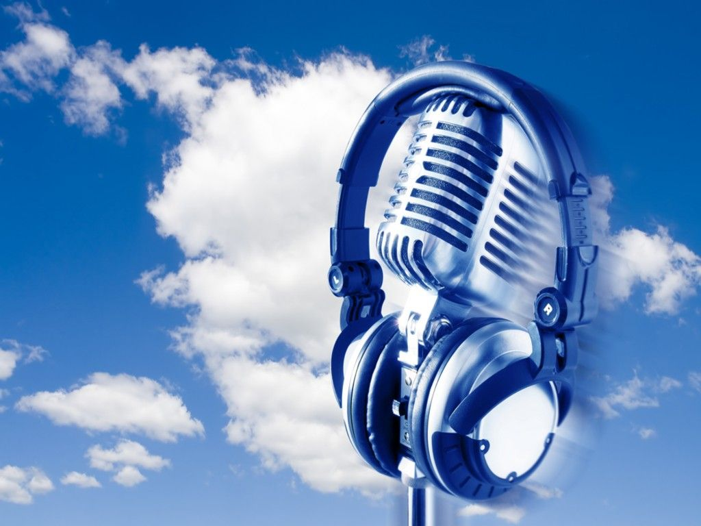 Microphone wallpaper flying retro microphone and - Microphone wallpaper ...