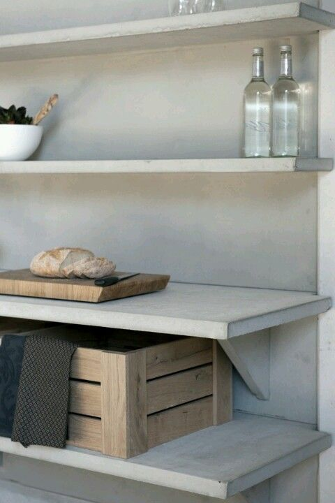 Concrete shelves.