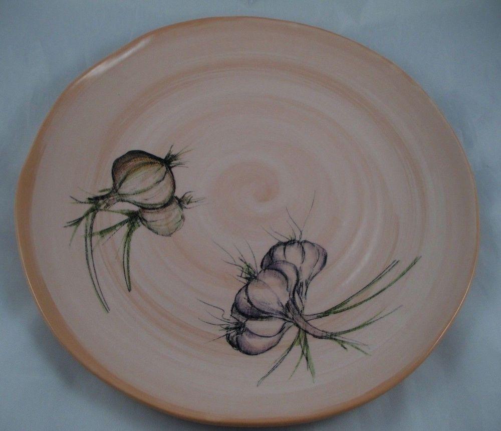 Ceramisia Artisan Made 13 1/4  Serving Platter Made in Italy Onions Garlic EUC & Ceramisia Artisan Made 13 1/4