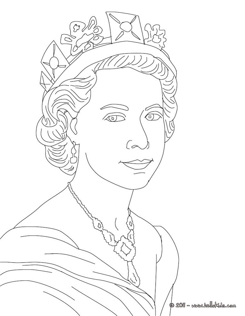QUEEN ELIZABETH II colouring page, great for printing or