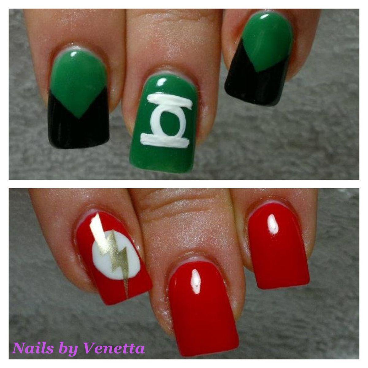 Green Lantern & The Flash Nails | Costumes | Pinterest | Superhero ...