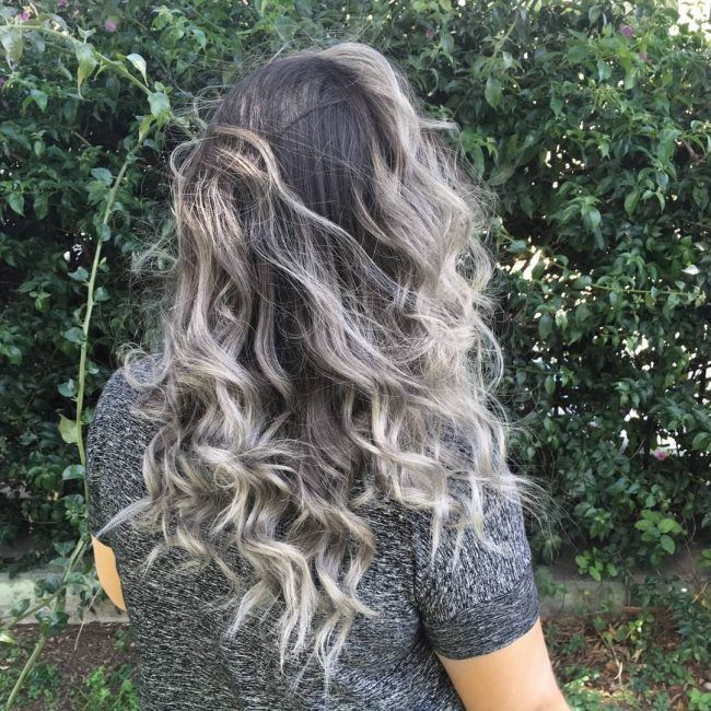 Silver Ombre For Curly Hair Ombre Curly Hair Curly Hair Styles Ash Blonde Hair Colour