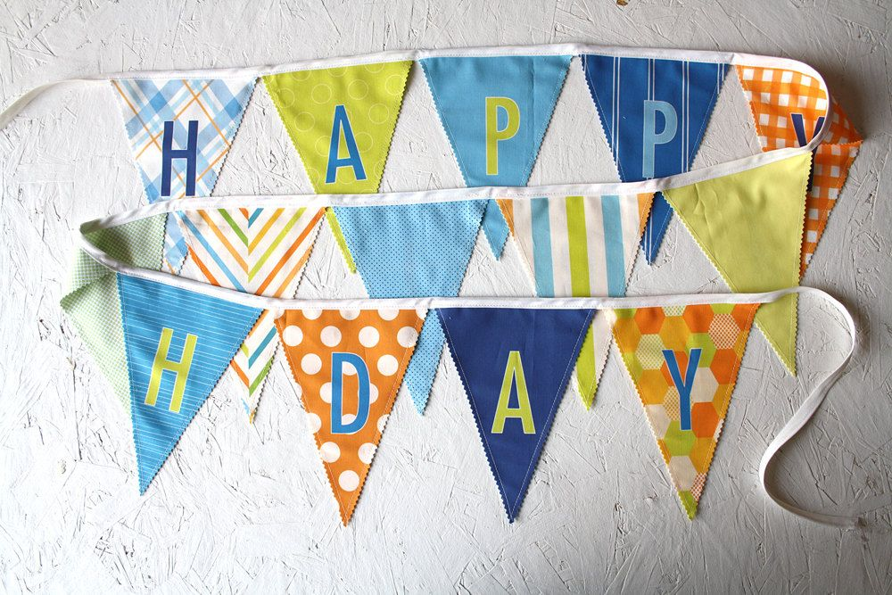 Boy Happy Birthday Fabric Flag Banner Garland, Blue Green Orange ...
