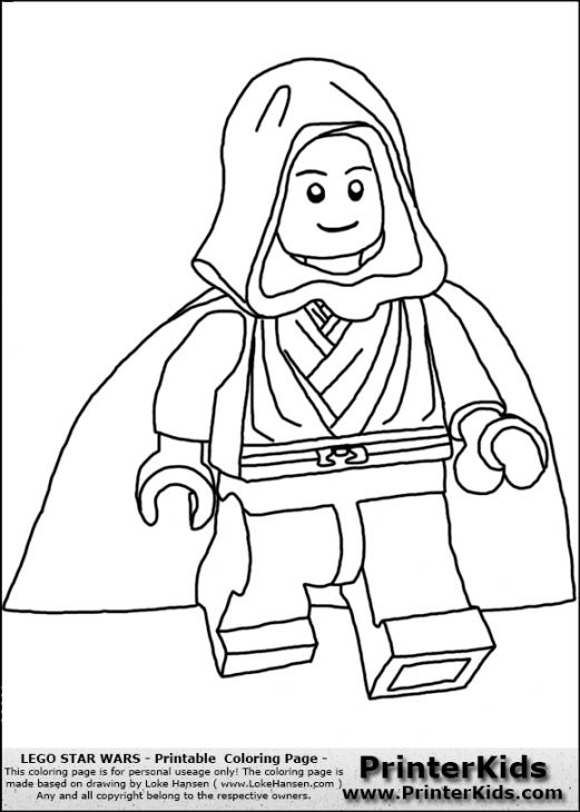Skywalker From Lego Star Wars Kids Printable Coloring Page | Fun ...