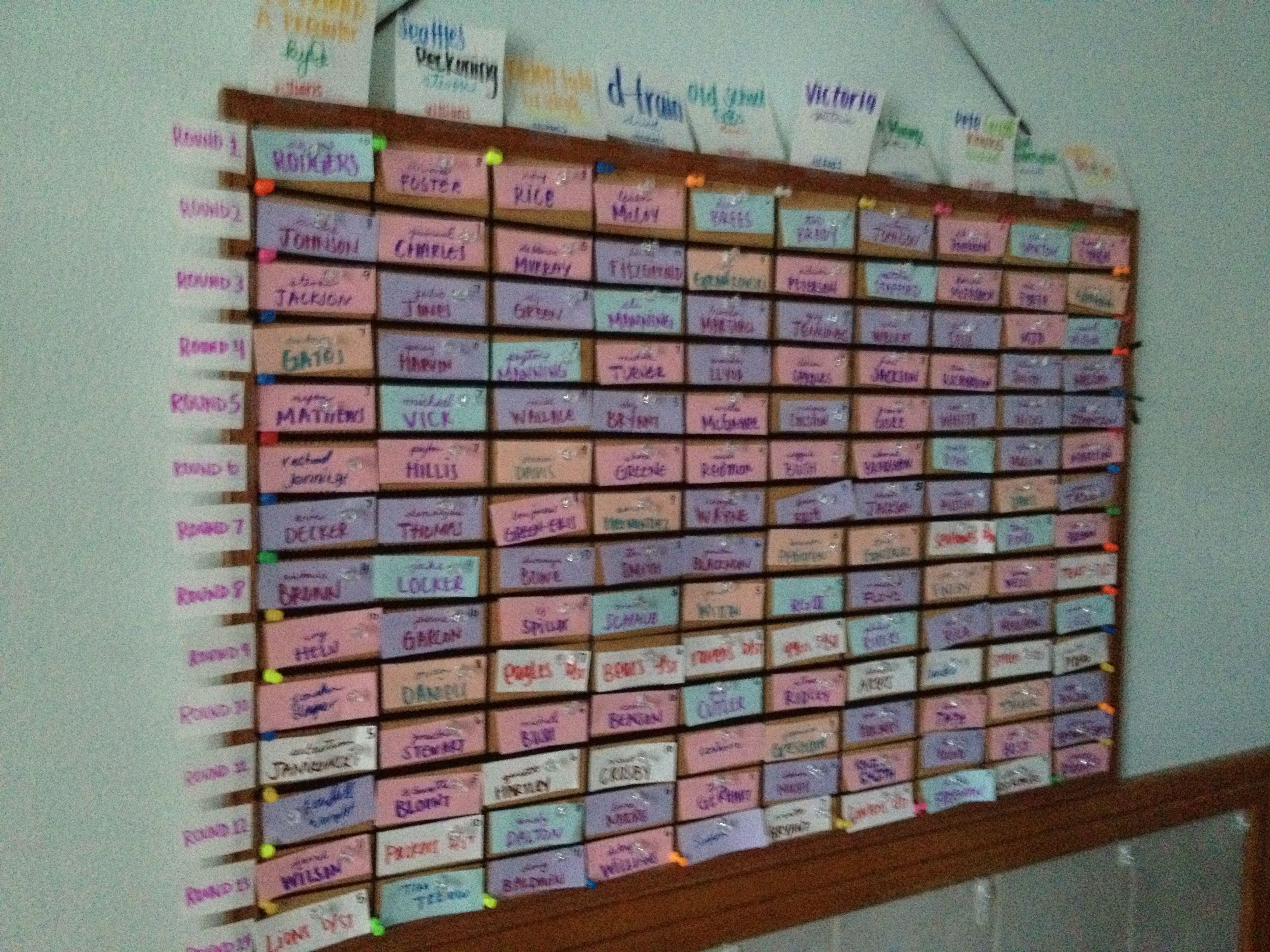 Homemade Fantasy Football Draft Board Holiday Celebration