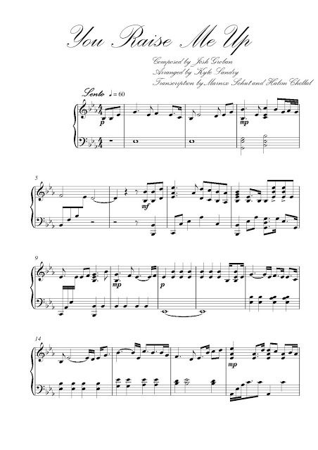 Josh Groban You Raise Me Up Kyle Landry Free Piano Sheet Music