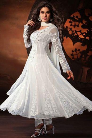 Off-white Faux Georgette Embroidered Festival Anarkali Kameez Sku Code:324-3501SL340995 $ 95.00