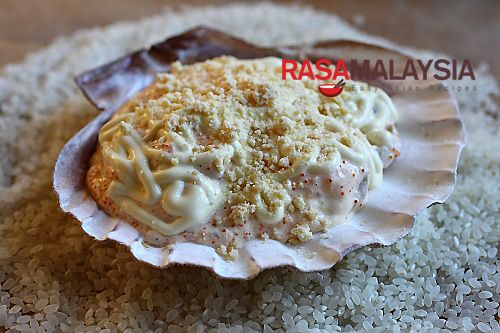 Seafood Dynamite | Easy. Shrimp, clam, crab. Mushrooms, lime juice, sriracha, mayo, cheese, fish eggs, parm cheese