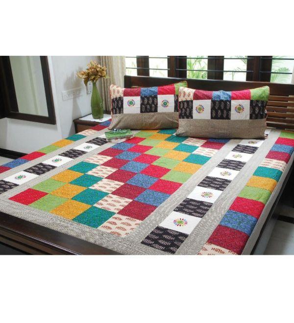 couvre lit multicolore Le couvre lit patchwork est une jolie finition pour votre chambre  couvre lit multicolore