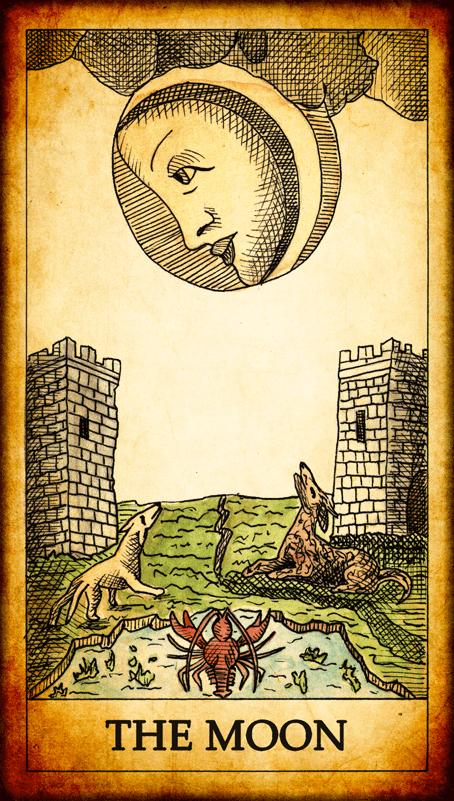 Tarot Moon Xviii Google Search Tarot Cards Art Vintage Tarot Vintage Tarot Cards