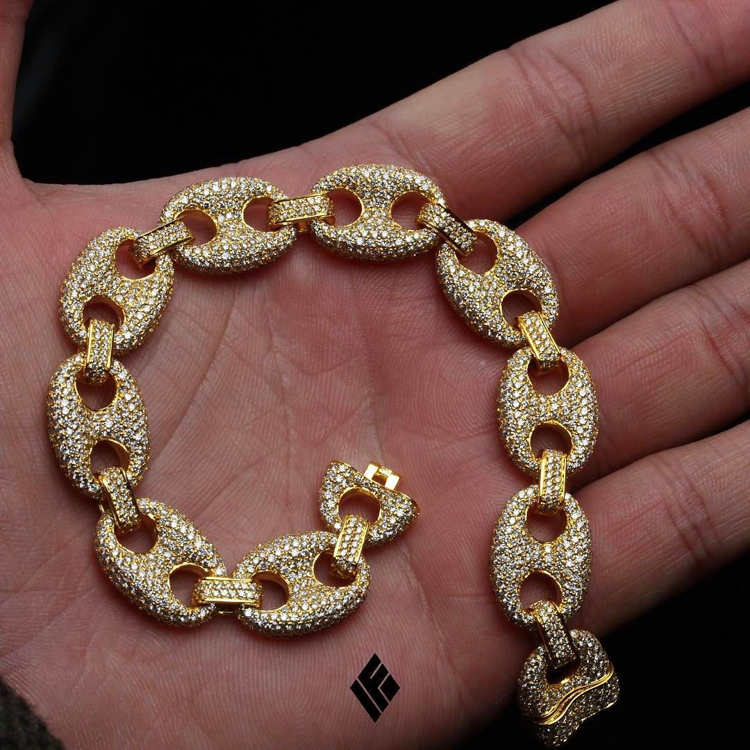 14kt Solid 13mm Fully Iced Out Gucci Link Bracelet Available Now On Www Ifandco Guccilink Customjewelry