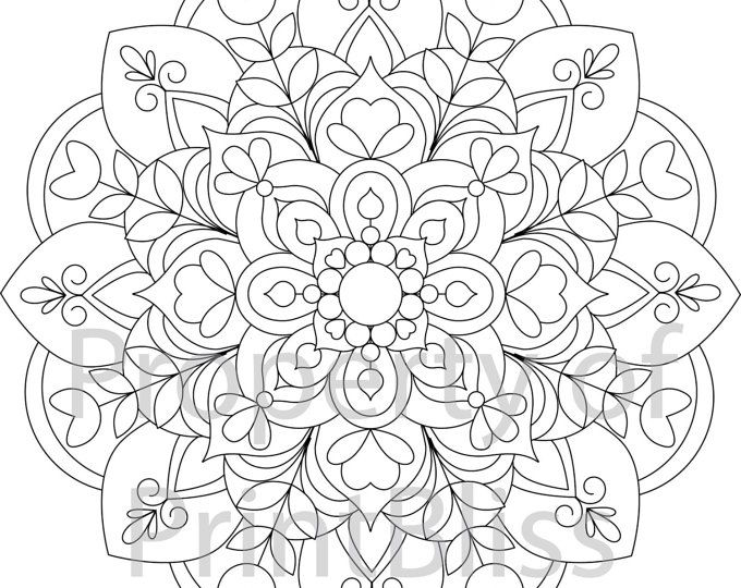 A Flower Mandala Printable Coloring Page In PDF File Format Watermark Will Be Removed