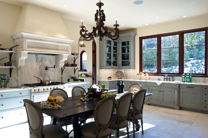 An Atlanta Painted Gray French Style Kitchen. ARCHITECT: Norris Broyles  Architect, Inc. French Style KitchensCabinet CompaniesAtlantaArchitects