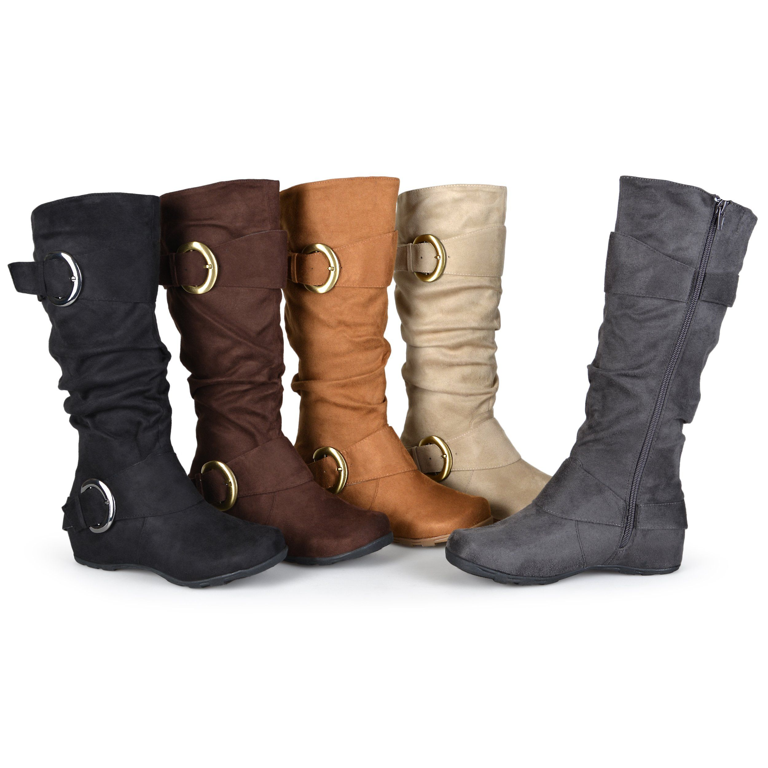 3f92f4e86de8 Amazon.com  Brinley Co. Womens Buckle Knee-High Slouch Boot In Regular and  Wide-Calf Sizes Grey 6  Shoes