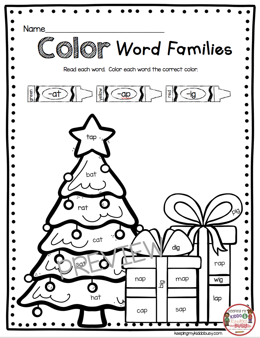 December Math And Literacy Pack Freebies Keeping My Kiddo Busy Christmas Kindergarten Word Families Christmas Reading [ 1170 x 900 Pixel ]