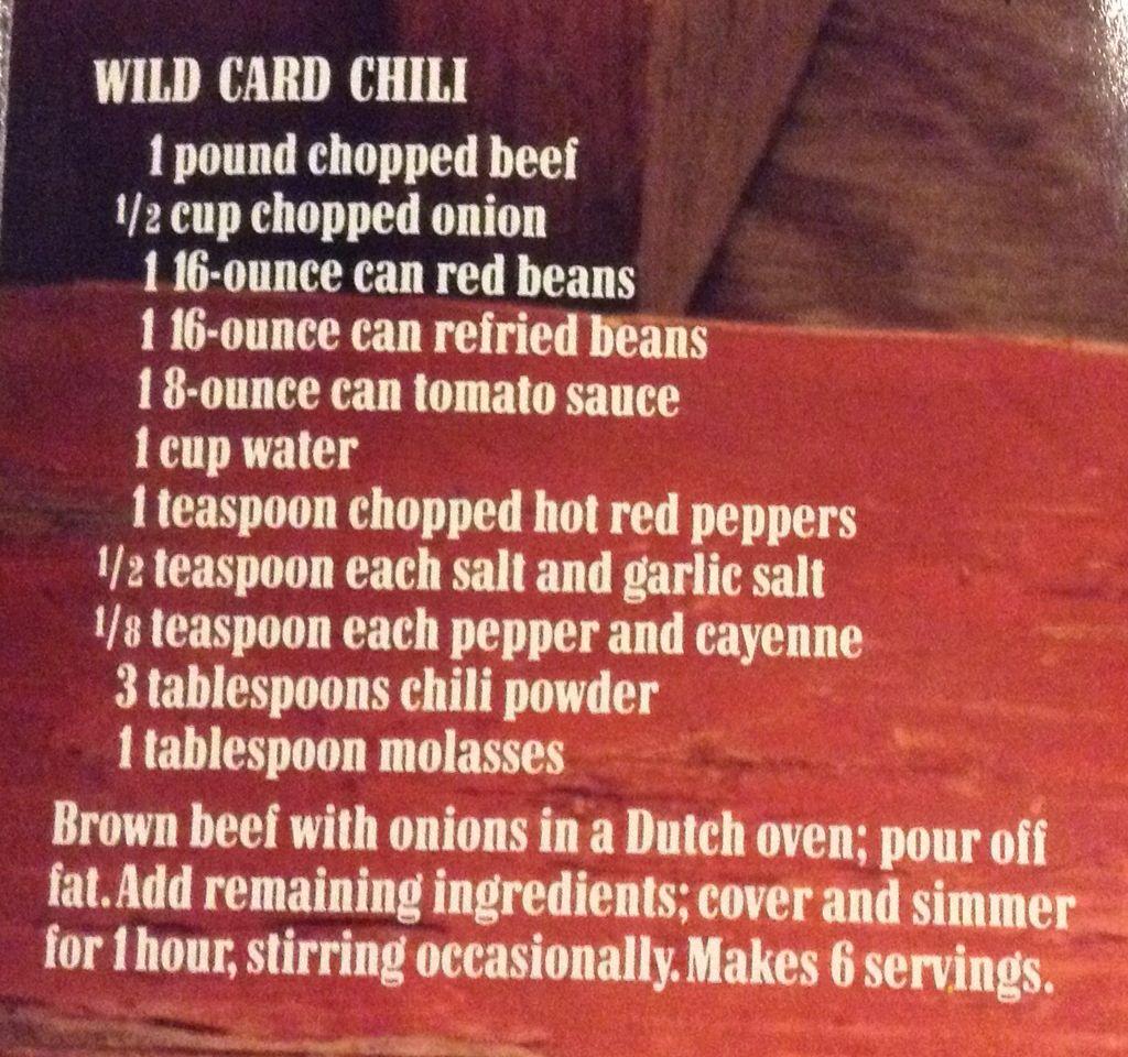 Marlboro Cookbook Wild Card Chili Country Chili Recipe Marlboro Chili Recipe Beef Stew Recipe