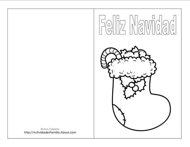 Descargra Gratis Tarjetas de Navidad para colorear Spanish classroom - navidad para colorear