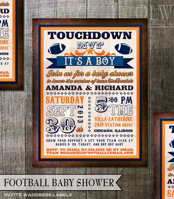 Football Baby Shower Invitation Boy Baby Shower By OddLotPaperie