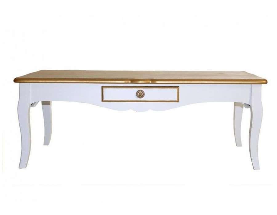 Table Basse Blanche Et Doree