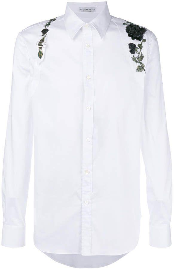 55f47f61 Alexander McQueen embroidered rose harness shirt   Sơ mi   Shirts ...