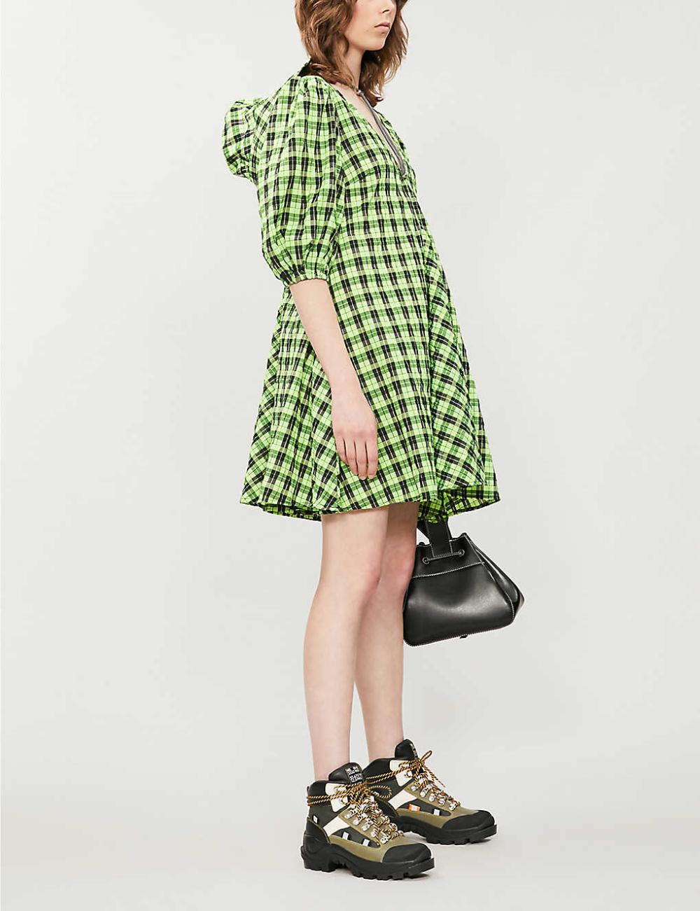 ganni seersucker mini dress