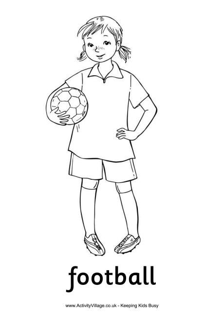 Football Girl Colouring Page Futbol Deti