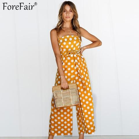 62aadbf88c4 Forefair Polka Dots Wide Leg Summer Jumpsuits Women Sleeveless Casual  Rompers Straight Long Pants Belted