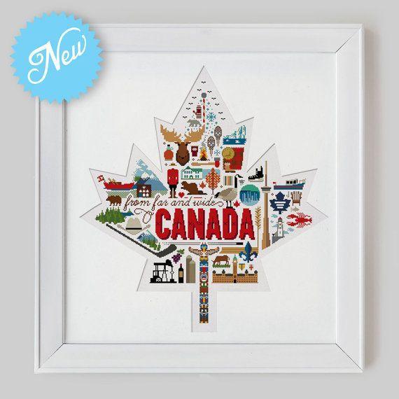Canada Sampler Cross Stitch Pattern (Digital Format - PDF) by Stitchrovia on Etsy