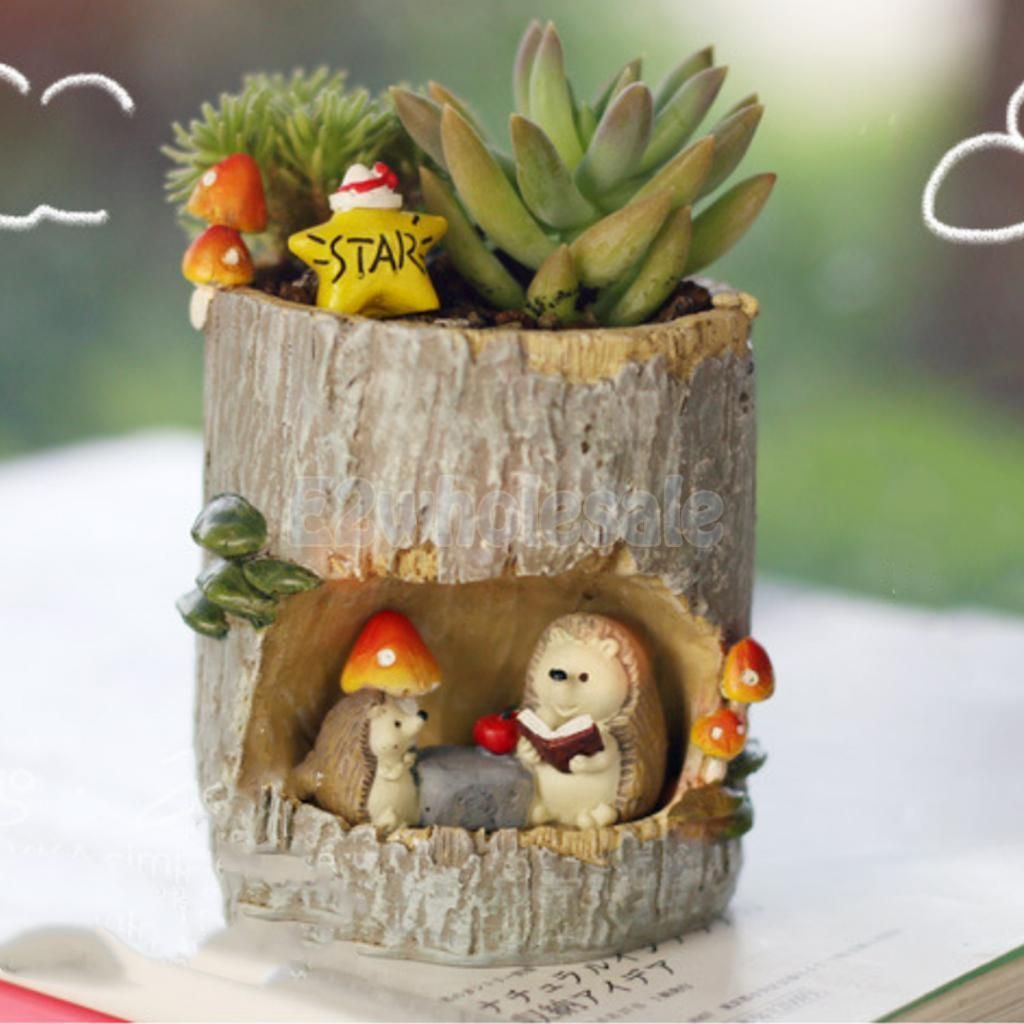 Cute hedgehog pot planter for flower succulent cacti herbs