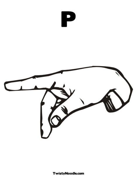 P Sign Sign Language Alphabet Coloring Pages Chart Design