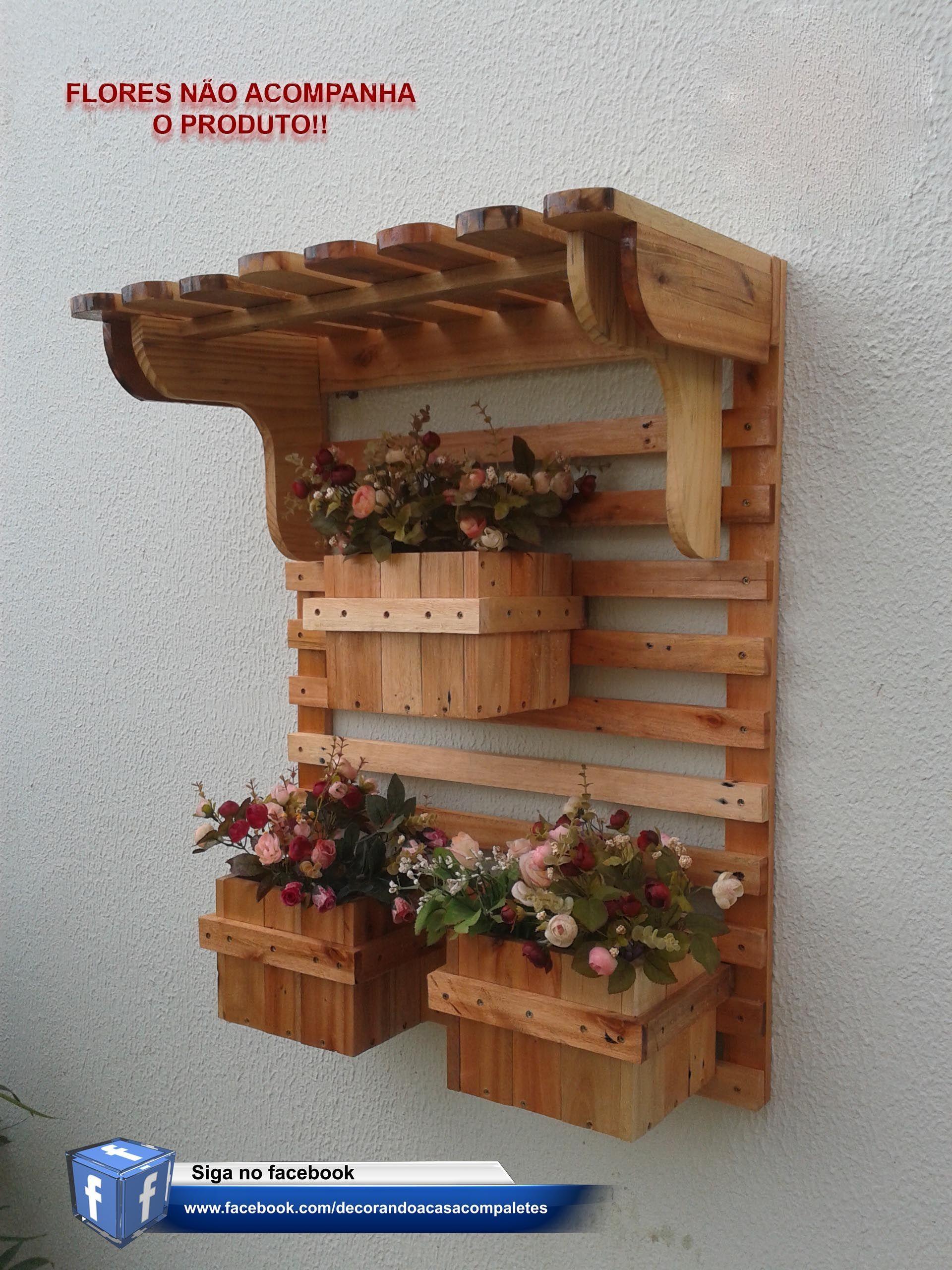 Cachepot feito de paletes Jardim vertical floreira cachepot pálete em 2019 Jardim vertical  -> Decoração Para Jardins Com Paletes
