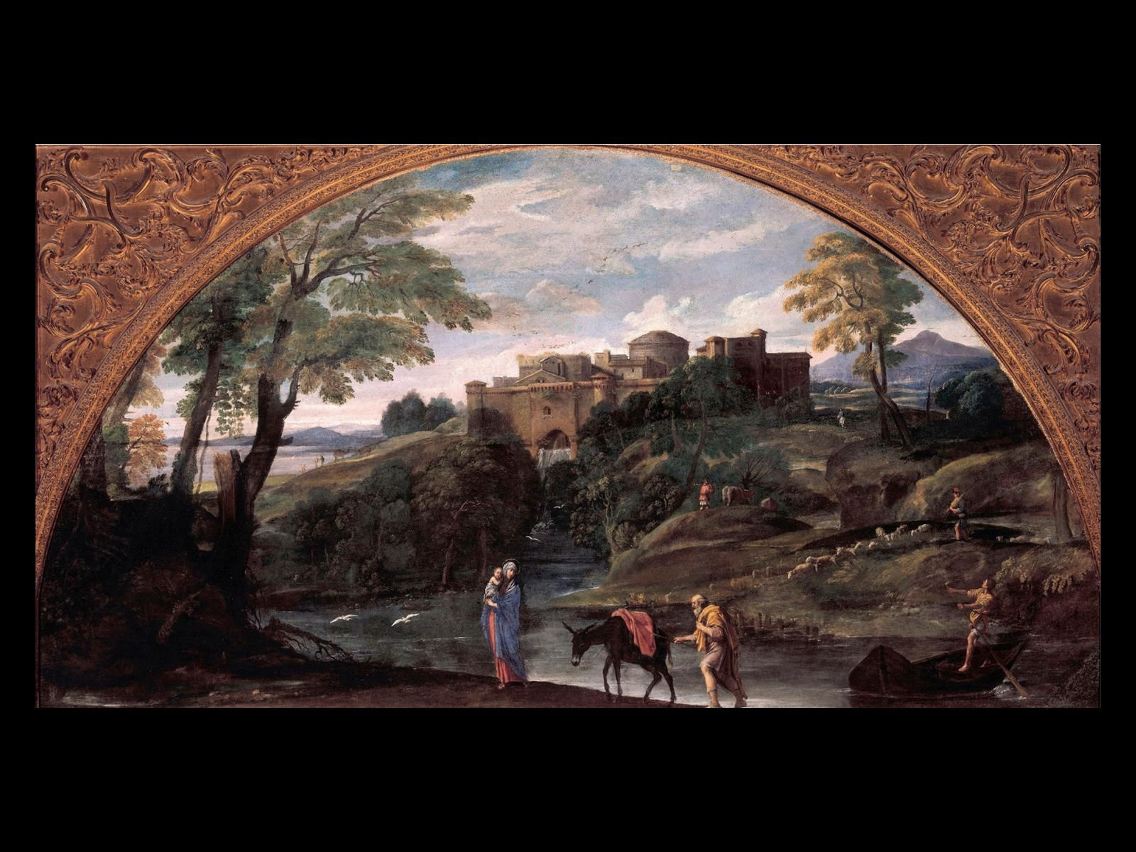 "Annibale Carracci, Flight into Egypt, 1603-1604. Oil on canvas, 4' x 7' 6"". Galleria Doria Pamphili, Rome."