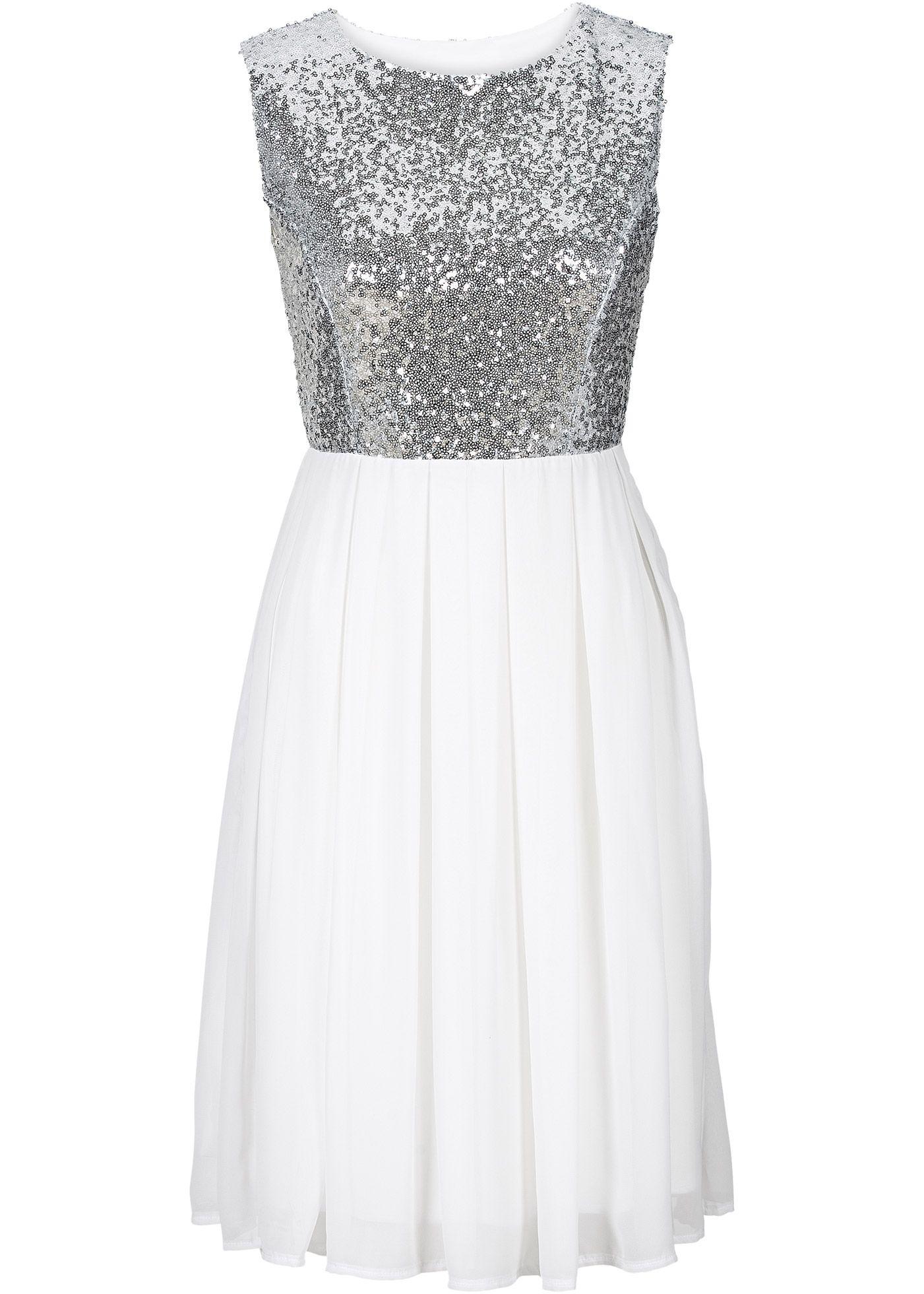 Kleid, BODYFLIRT, weiß/silber | Schön | Pinterest | Silber ...
