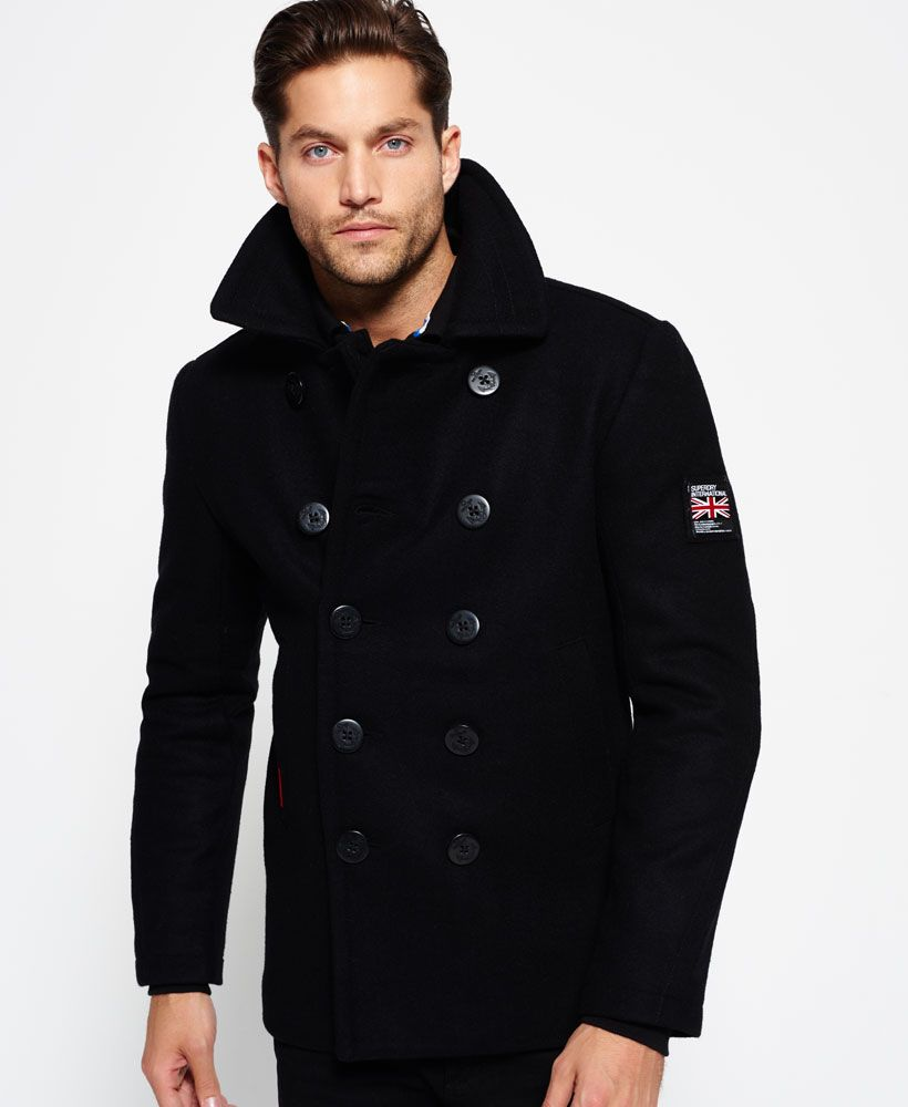 c848aecf42d6a Rookie Peacoat - Super Dry Black Coat Outfit, Superdry Jackets, Mens Winter  Coat,