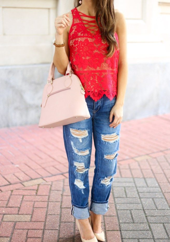 ebfba0ef9c Red Lace up Tank and Distressed Jeans Red and Pink Is Not Just for  Valentine s Day. Red Top. Red Lace Top. Red Lace Up Top. All Over Lace Top.