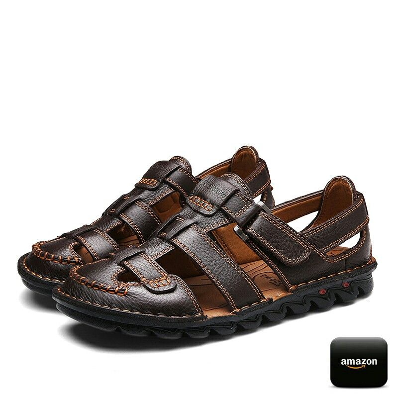 24005077b6f3 Amazon Men s Casual Outdoor Strap Summer Fisherman Leather Sandals ...