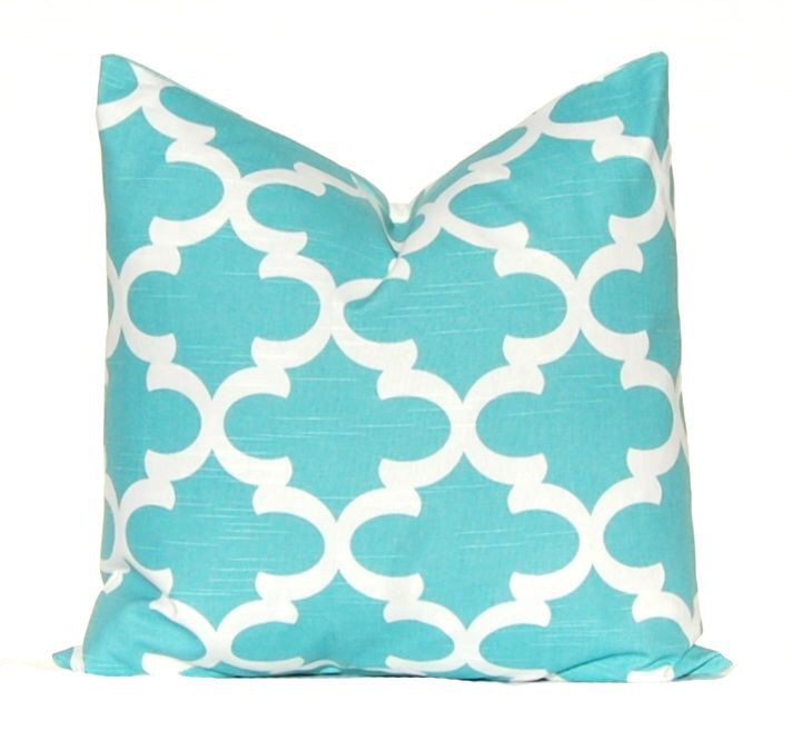 Turquoise Pillow Aqua Pillow Cover Decorative Throw Pillow Cover
