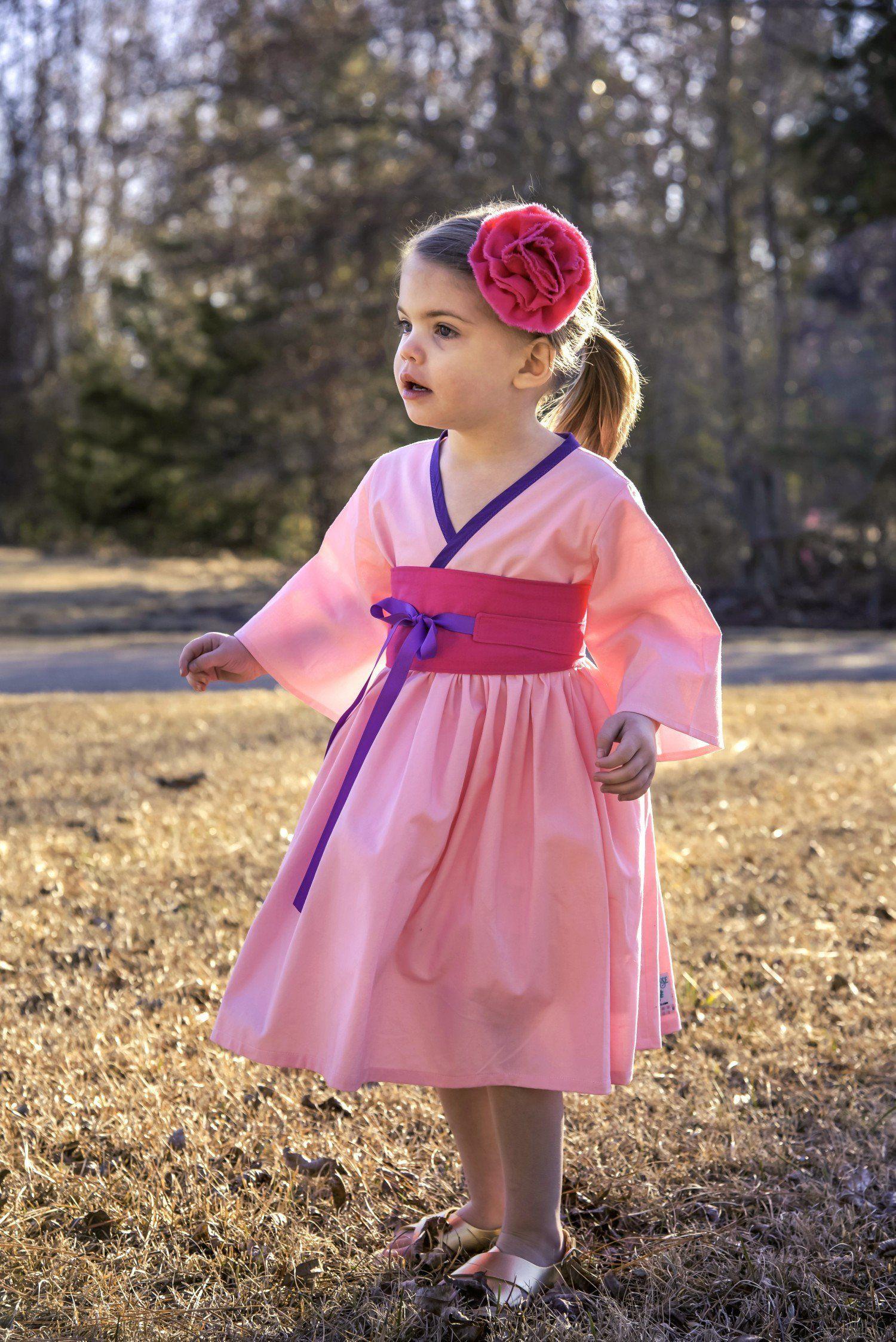 Princess Mulan Mulan Costume Pink Mulan Dress Mulan Birthday Little Girl Kimono Mulan Kimono Little Girl Costumes Birthday Party Dress Girls Dresses