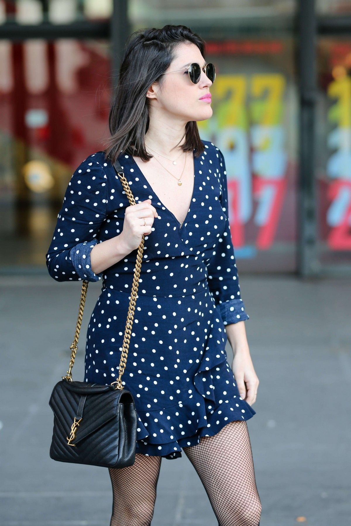 Combinaison à pois Zara sac Yves Saint Laurent L'atelier d'al blog mode lifestyle street style Paris #polkadot #cachecoeur #saintlaurent #bag #rayban