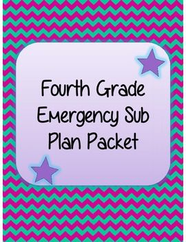 Fourth Grade Emergency Sub Plan Packet (20 pages!) #emergencysubplans