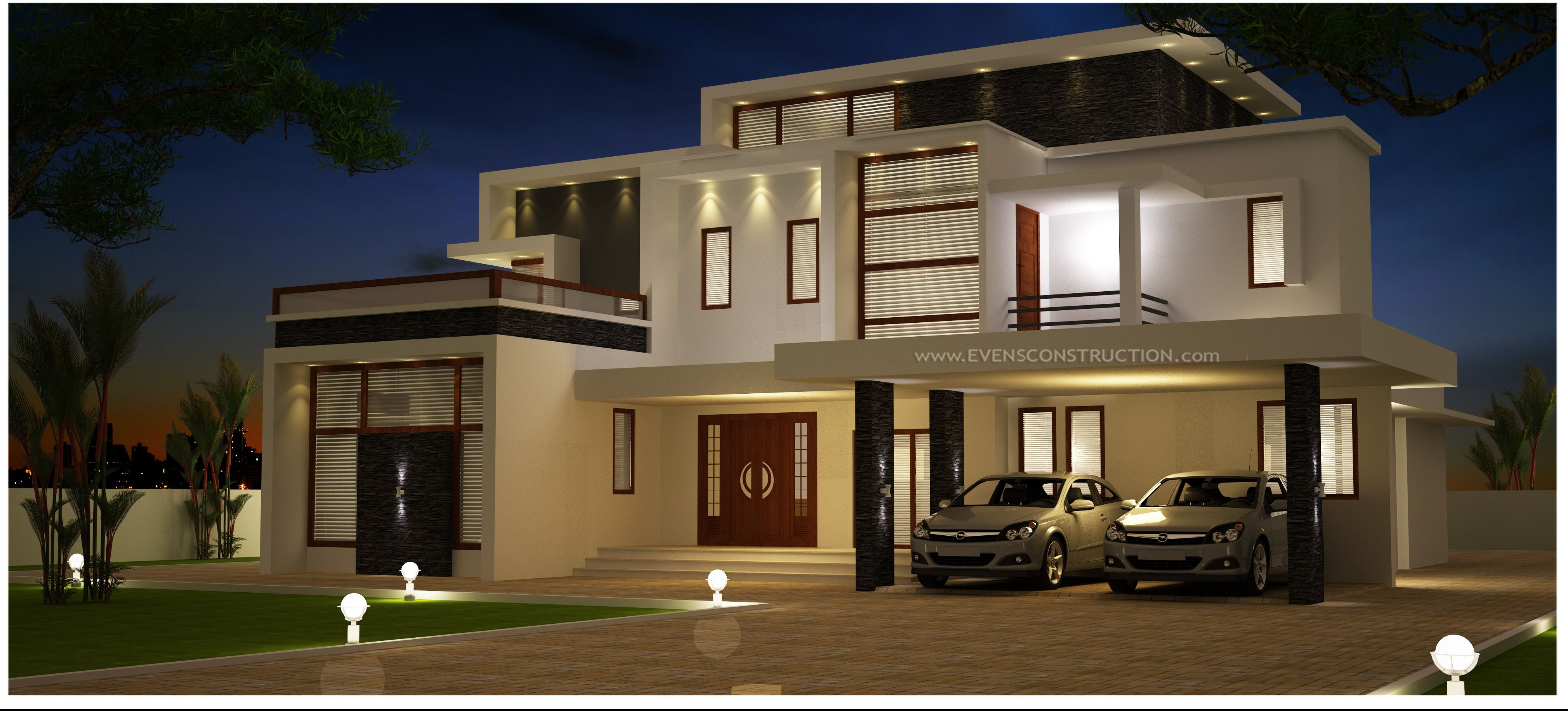 Contemperory style house designed by evens constructions villa plan kerala design houses also  rh pinterest