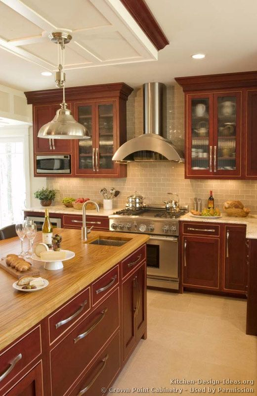 Traditional Dark Wood (Cherry) Kitchen Cabinets #05 (Crown-Point.com ...